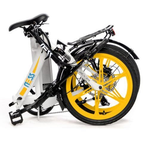 Yellow Ness Icon Folding Electric Bike - Folded