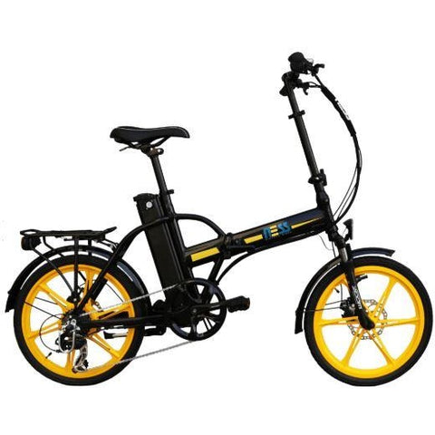 Yellow Ness Rua Folding Electric Bike - Side View
