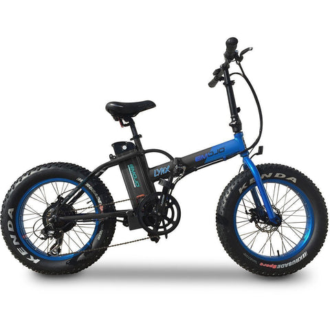 Black and Blue EMOJO Lynx - Fat Tire Folding Electric Bike - Side View