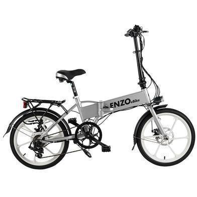 Silver Enzo eBikes - Folding Electric Bike - Side View