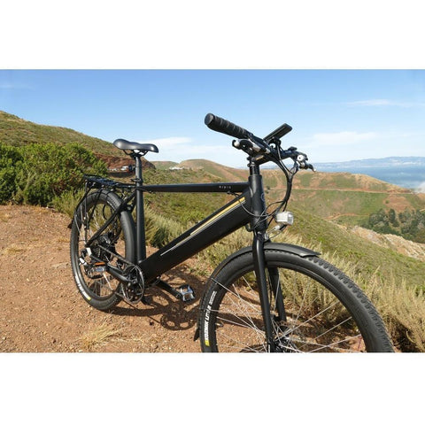 Black Espin Sport - Electric Commuter Bike - On a dirt trail