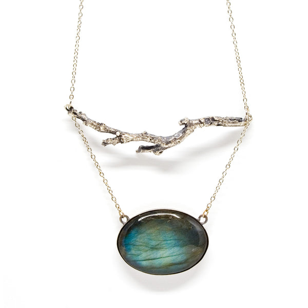 stone necklace: twig statement