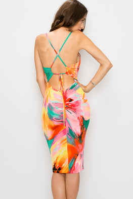 Tie Dye Crisscross Back Dress - Anew Couture