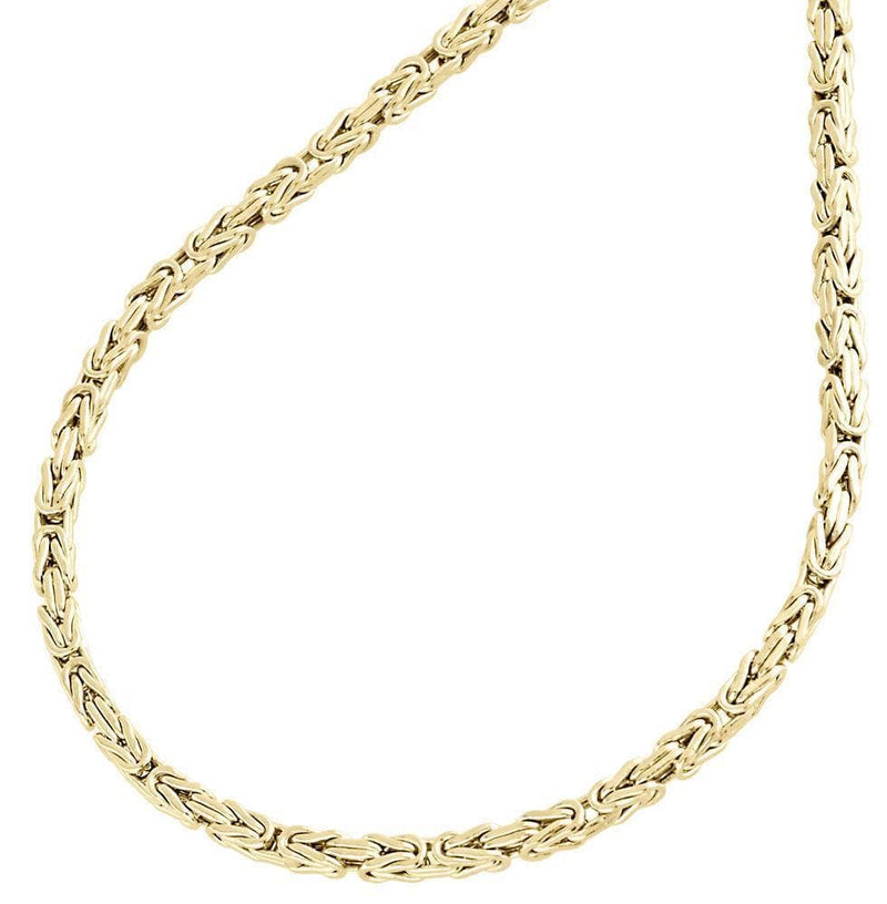 "5MM 10K Gold Solid Pave Byzantine Chain Necklace 20""-28"" Inches, Chain, JJ-AG, Jawa Jewelers"