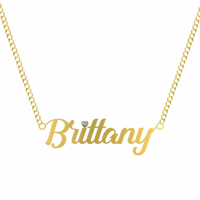 14K Yellow Gold Alleyster Name Plate Pendant