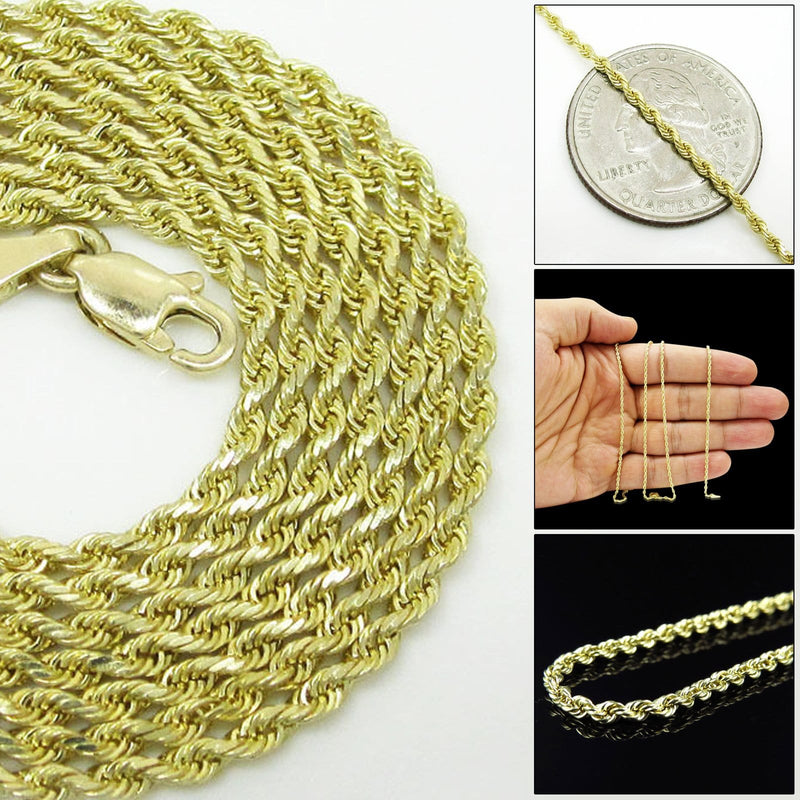 10K Yellow Gold 2MM Rope Chain Diamond Cut Necklace