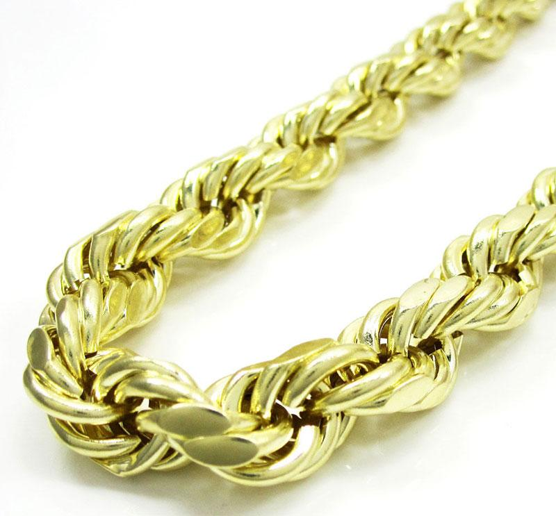 10MM 10K Yellow Gold Rope Chain Necklace 26 Inches