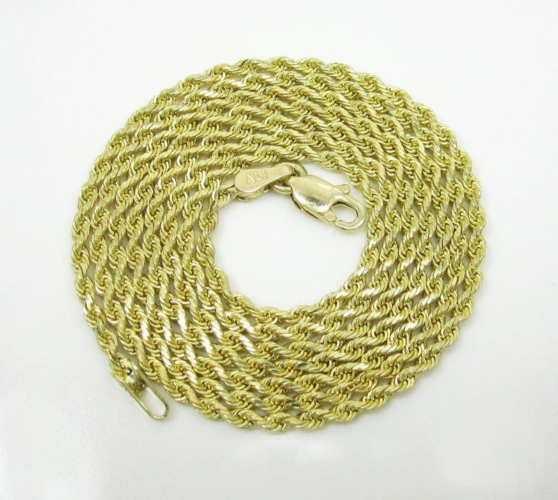 10K Yellow Gold 8MM Hollow Rope Chain Necklace Mens - Jawa Jewelers