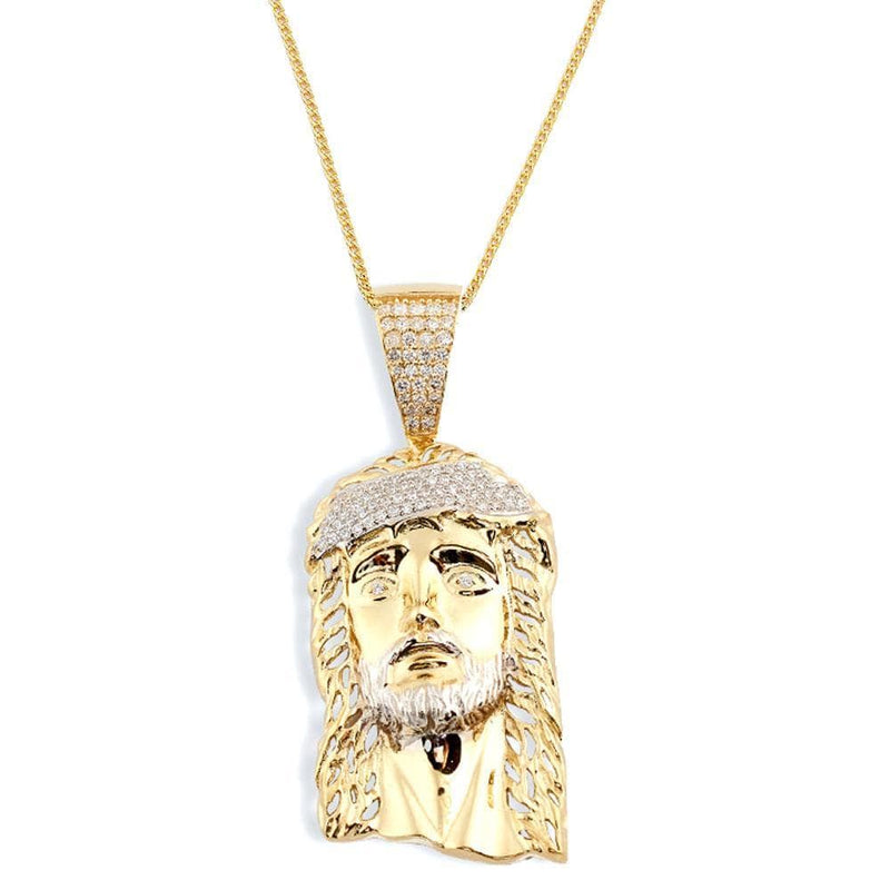 10K Yellow Gold 10.80 Grams Fashion Jesus Face Pendant - Jawa Jewelers