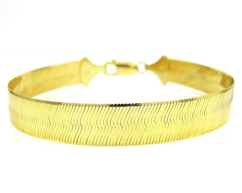 "20MM 10K Yellow Gold Herringbone Bracelet 8"" - 9"" Inches, Bracelets, JJ-AG, Jawa Jewelers"