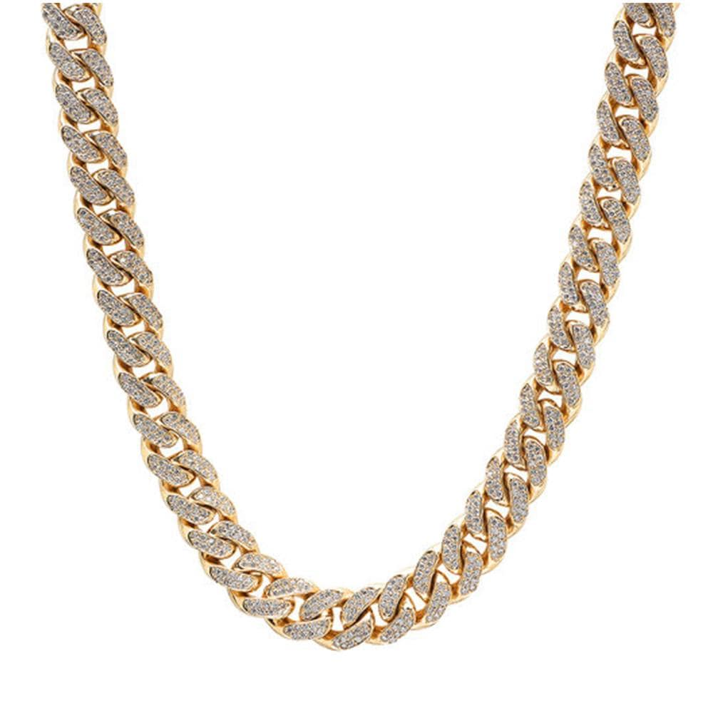 11MM 10K Yellow Gold 18CT Diamond Chain Necklace 28 Inches