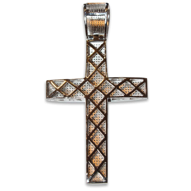 "2.15 CT Round Cut Diamond Cross Pendant Sterling Silver 3.5"", Pendants, Jawa Jewelers, Jawa Jewelers"