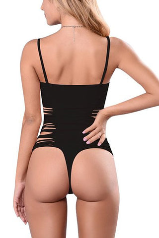 MC Open Back Sexy Solid Thong String Swimsuit