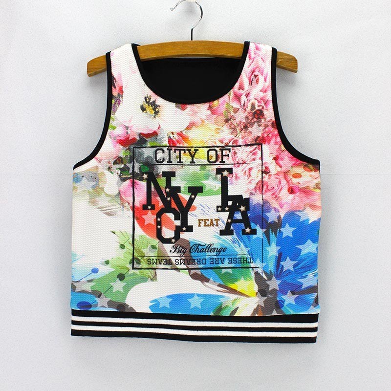 Two States Print  Tank Crop Top for Women One Size