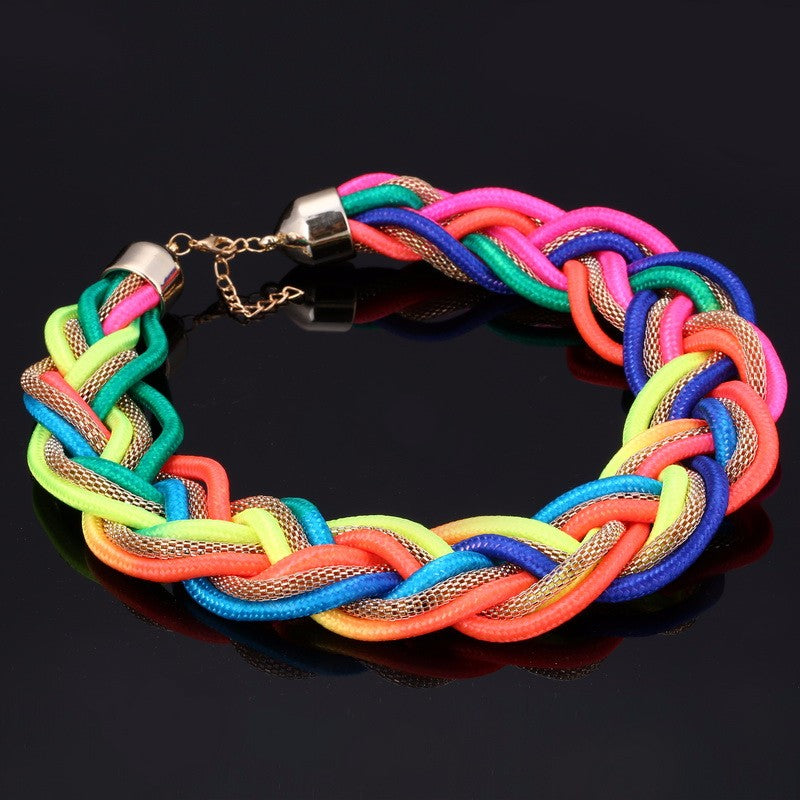 Colorful Braided Rope Choker Necklace