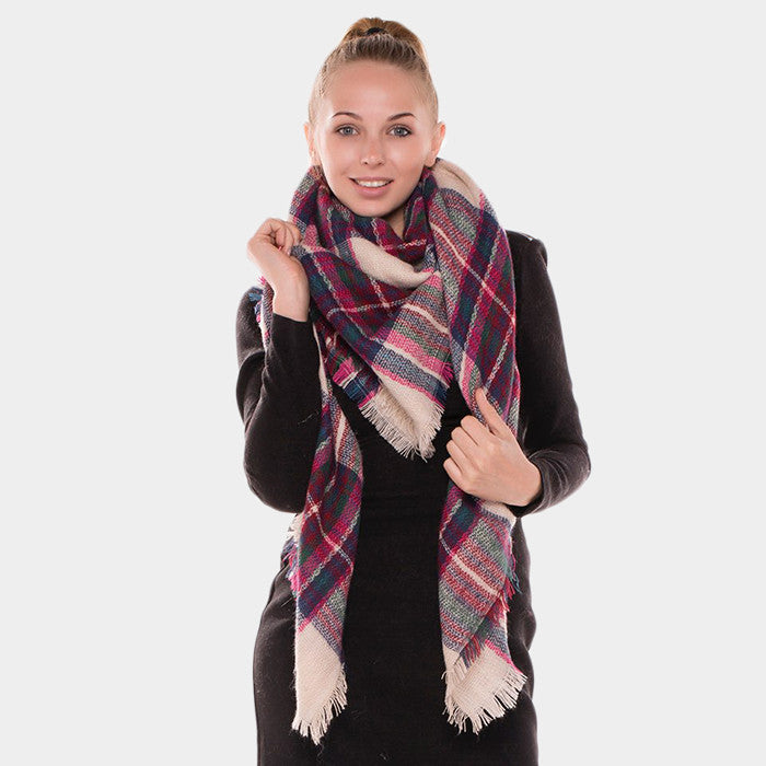 Plaid Checkered Blanket Scarf for Women