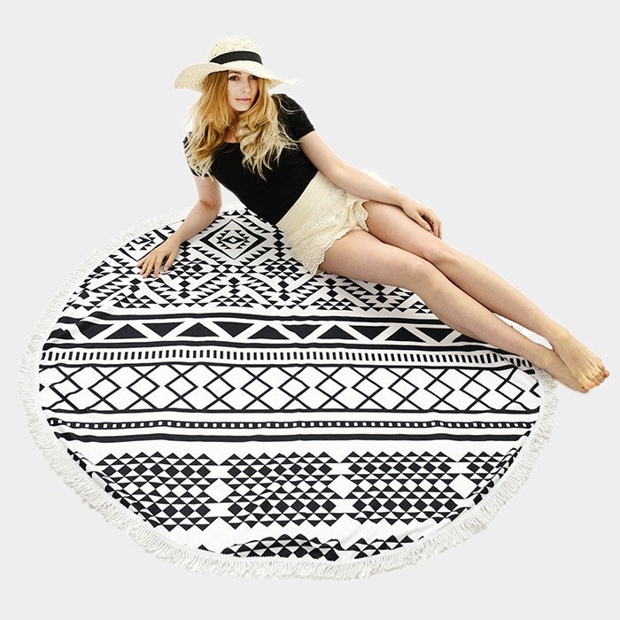 Geo Pattern Round Beach Towel With Tassel Trim