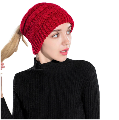Womens Ponytail Cable Knit Beanie