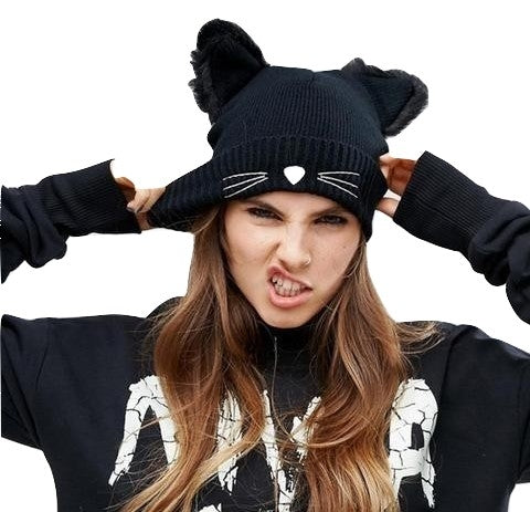 Feisty Cat Winter Beanie Hat