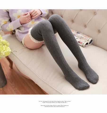 Lace Top Thigh High Ribbed Socks