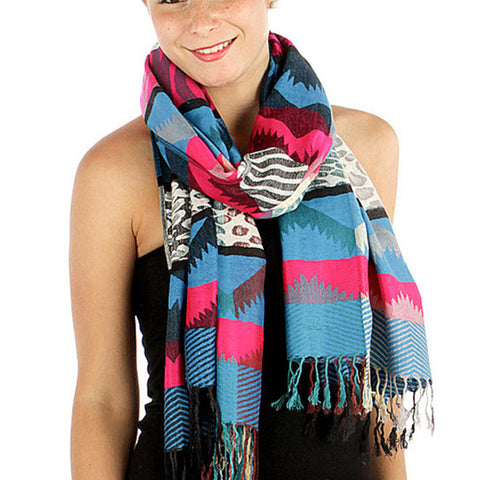 Colorful Tribal Print Womens Pashmina Blue
