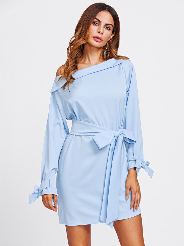 Off The Shoulder Belted Cuff And Waist Dress
