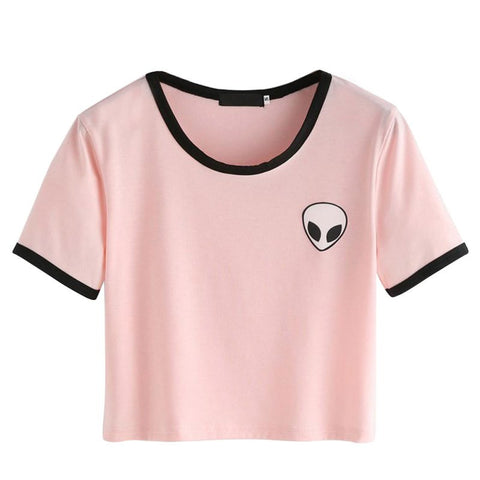 Crew Neck Alien Print T-Shirt for Women
