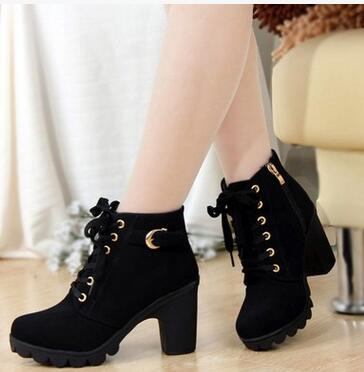 Mandy Medium Heel Lace Up Ankle Boots