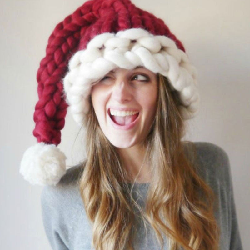Festive Chunky Knit Santa Hat for Christmas