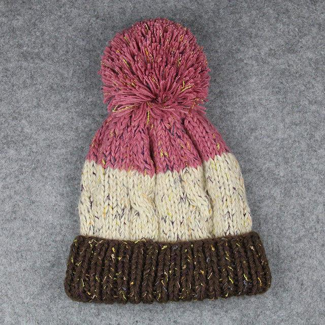 Colorblock Pom Warm Beanie Hats