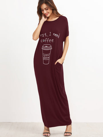 Graphic Print T Shirt Maxi Dress With Side Pocket