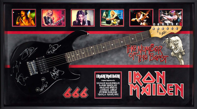 Iron Maiden Signed Guitar The Number of the  Beast Custom Framed