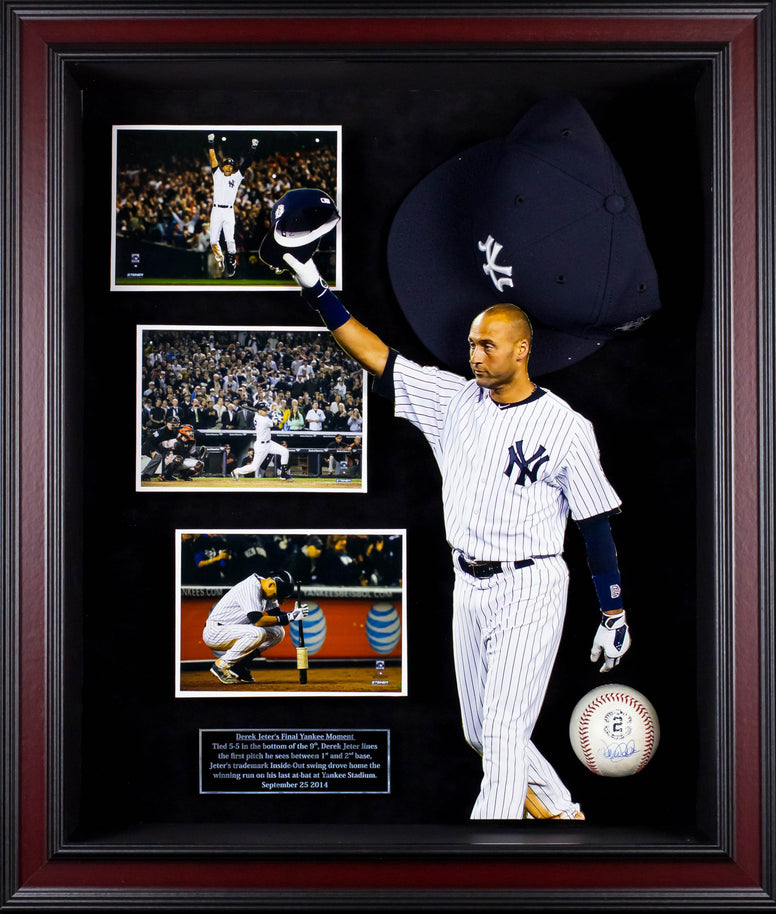 Derek Jeter Signed Picture Collage in Custom Frame w/ Steiner COA