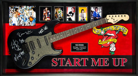 Rolling Stones Signed Guitar Start Me Up Custom Framed