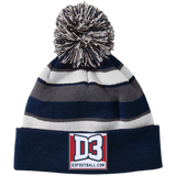 Striped Pom Pom Knit Winter Hat - D3Football.com
