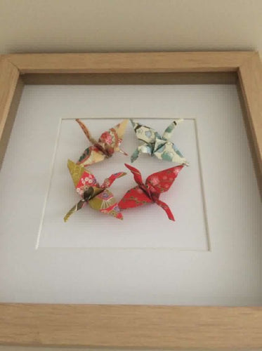 Framed Crane Quartet - mixed colours
