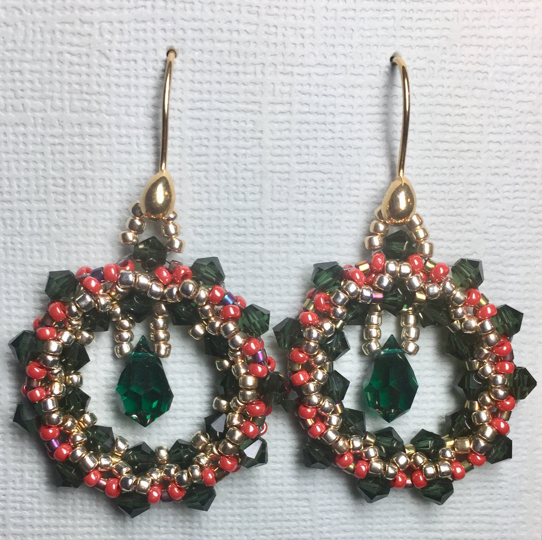 Christmas wreath earrings