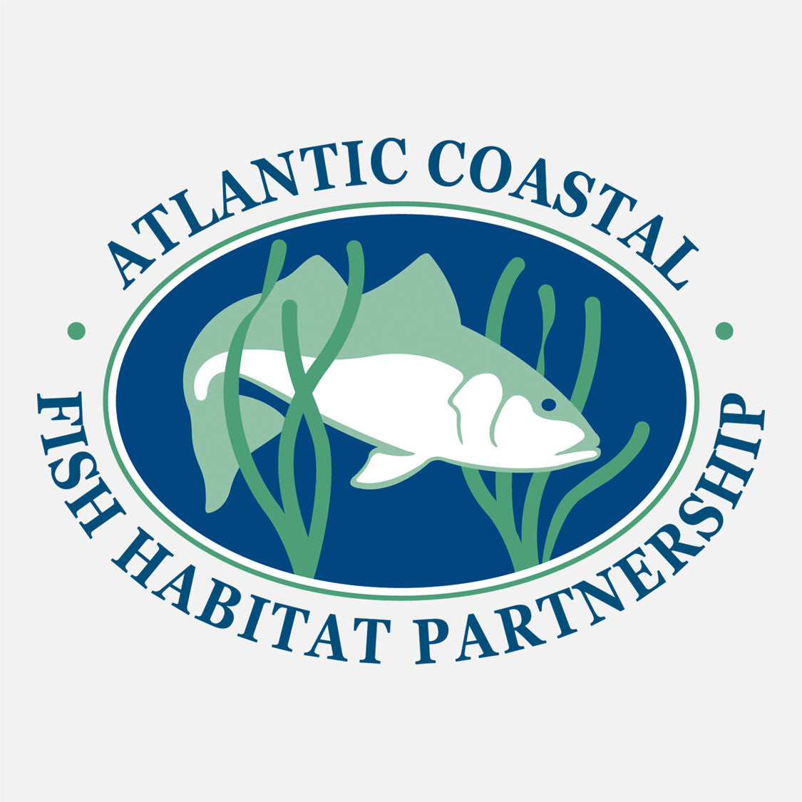 A coast-wide collaborative effort to accelerate the conservation of habitat for native Atlantic coastal, estuarine-dependent, and diadromous fishes. The logo is a graphic fish in seagrass habitat.
