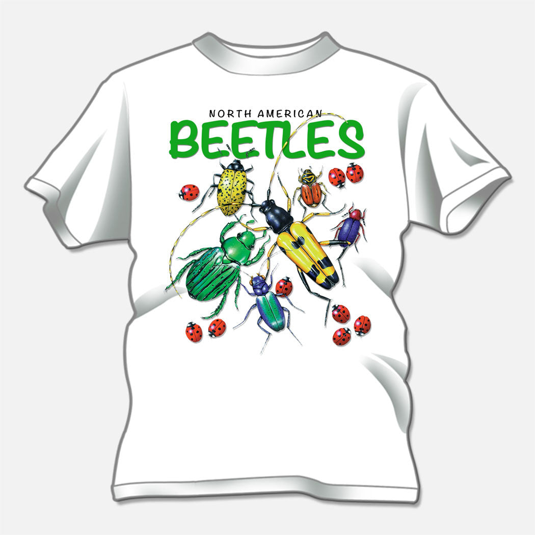 North American Beetles designed for a t-shirt design studio. The design is of several colorful beetles.