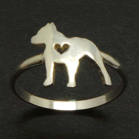 Dog Pitbull Silver Ring