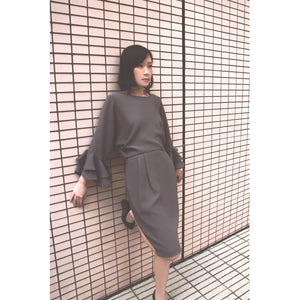 One piece dress in plain grey color with ruffled cuffs and small open back in European silhouette