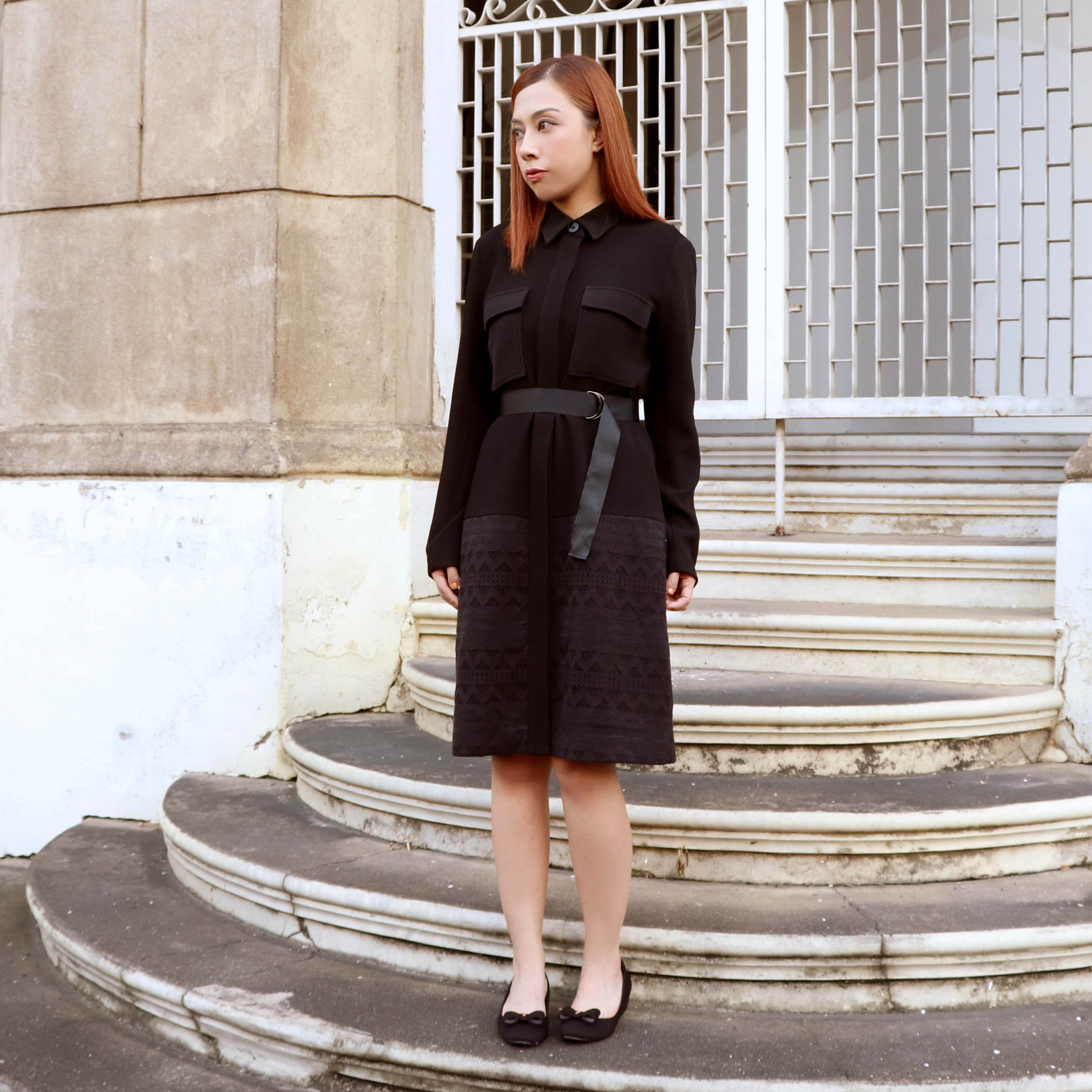 Black Coat With Lace One Piece Dress with belt