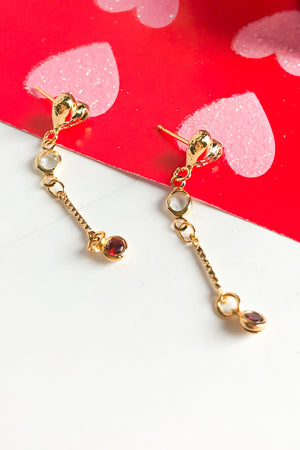 Beating heart drop earrings