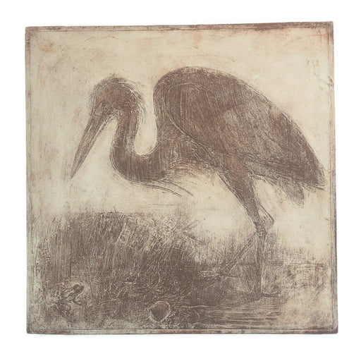 Cement Plaque - Heron - Green - Large