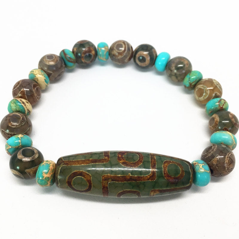 Green Natural Agate 9 Eyes Pattern Tibetan Dzi Bead Bracelet