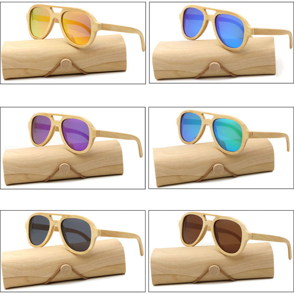 Casia DeL Collection  Real Wood Sunglasses Polarized  Bamboo Sunglasses   Unisex Wooden Sun Glasses With Wood Case