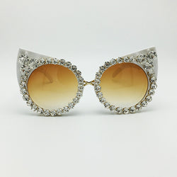 New Casia Del Luxury Brand Collection Sunglasses Jewelry Rhinestone Cat Eye Shades Vintage Eyewear