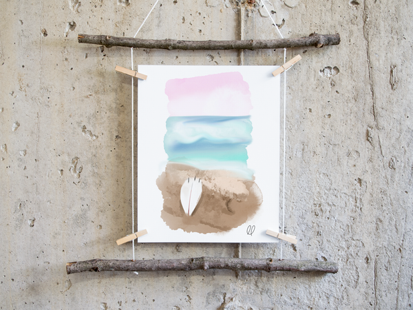 Surfer's Pastel Paradise Printable Art Download
