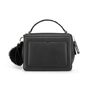 Genuine Leather Handbag with Wide Detachable Shoulder Strap