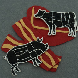 Cow and Pig Butcher Cuts Diagram Set Embroidered Iron-on (Two Patches)